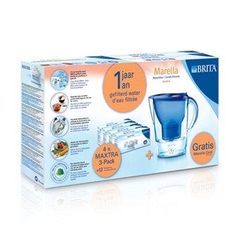Brita Startpakket Marella Cool Blauw + 4X3 Pack Maxtra