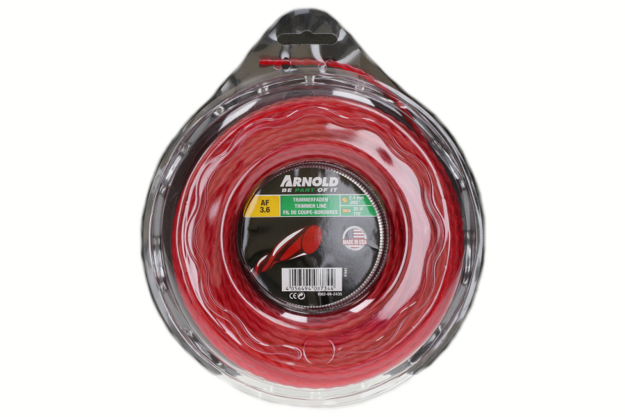 Trimmerdraad (AF 3.6, 2.4mm x 35m, rood, rond, gedraaid) voor grastrimmer 1082-U4-2435