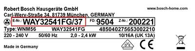 Bosch onderdelen typeplaatje