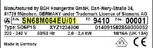 Siemens onderdelen typeplaatje